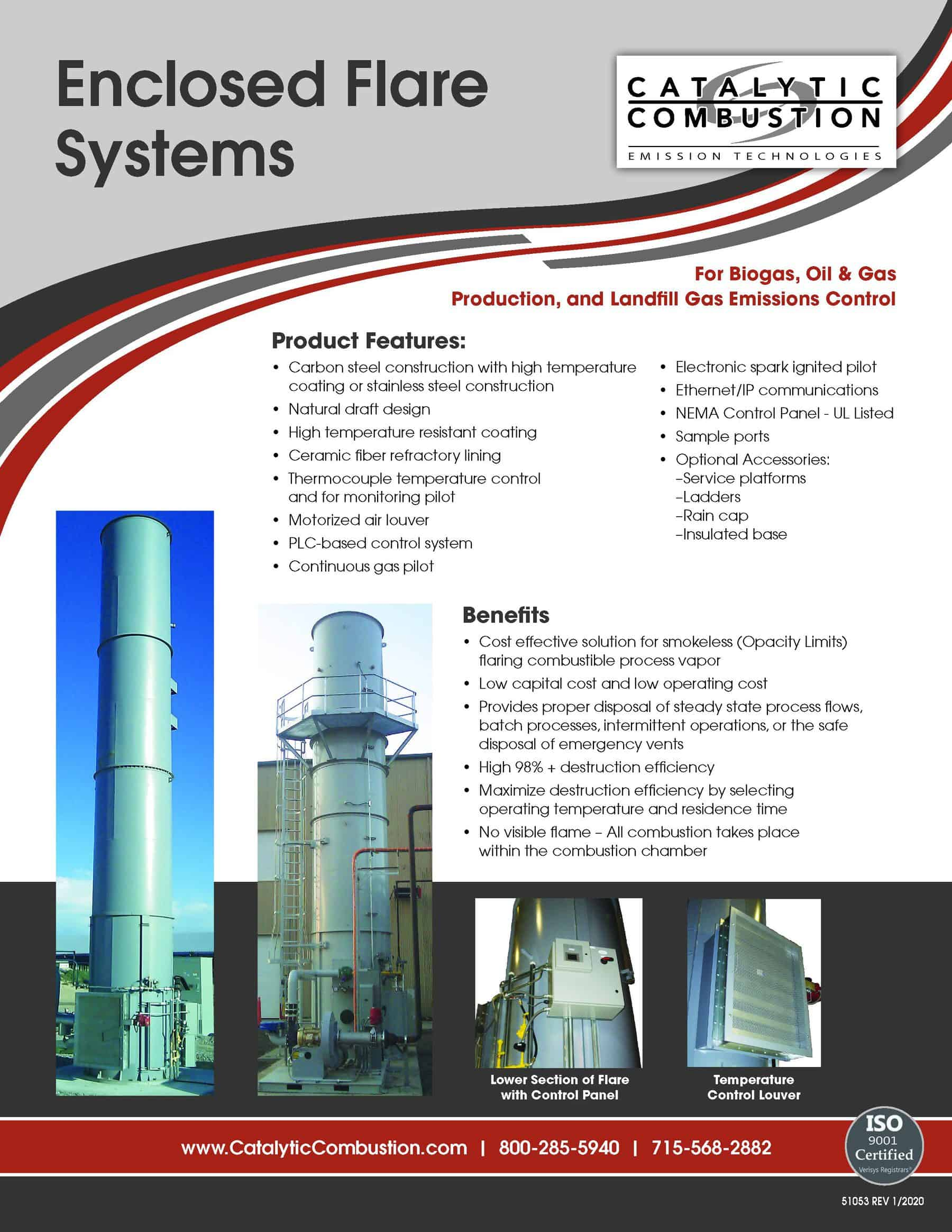 Catalytic Combustion Enclosed Flare Systems